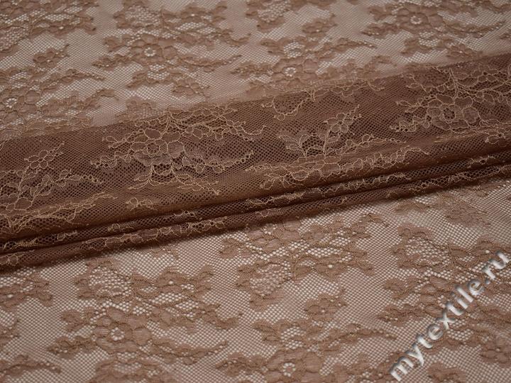 Гипюр коричневый цветы полиэстер эластан БВ435