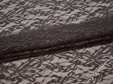 Гипюр коричневый узор полиэстер эластан БВ580