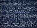 Гипюр синий цветы полиэстер эластан БВ415
