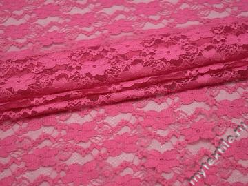 Гипюр розовый цветы полиэстер эластан БВ455