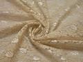 Гипюр бежевый цветы полиэстер БВ441