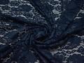 Гипюр синий пейсли цветы полиэстер эластан БВ582
