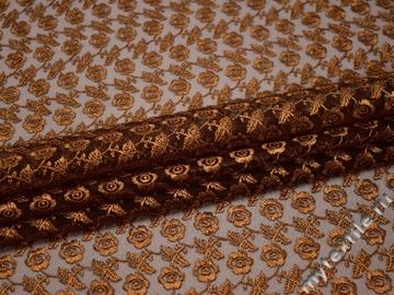 Гипюр коричневый цветы полиэстер БВ579