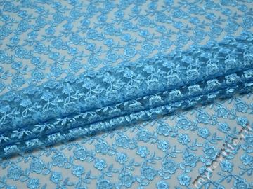 Гипюр голубой цветы полиэстер БВ578