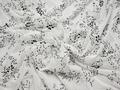 Гипюр белый с черными цветами полиэстер эластан БВ564