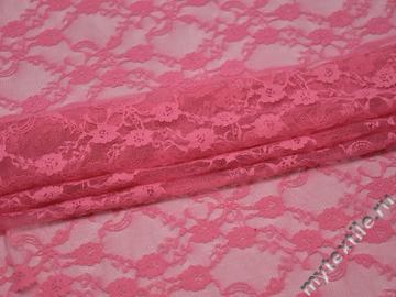 Гипюр розовый цветы полиэстер эластан БВ550