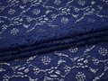 Гипюр синий цветы хлопок полиэстер БВ544