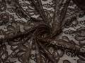 Гипюр коричневый цветы полиэстер эластан БВ545