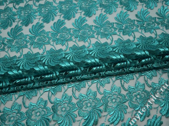 Гипюр бирюзовый цветы полиэстер БА453