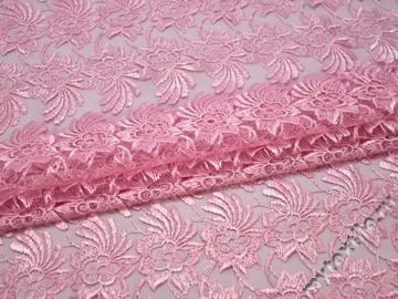 Гипюр розовый цветы полиэстер БА562