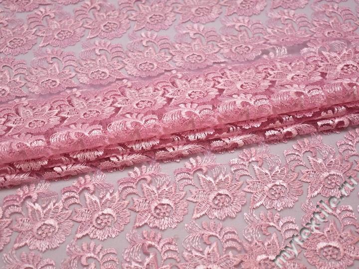 Гипюр розовый цветы полиэстер БА561