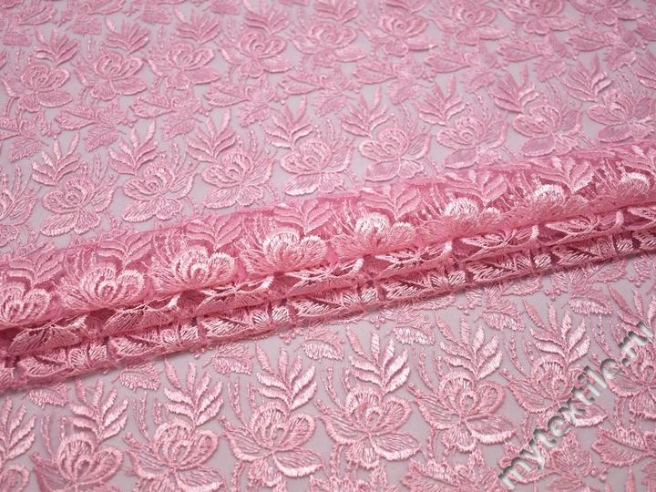 Гипюр розовый цветы полиэстер БВ581
