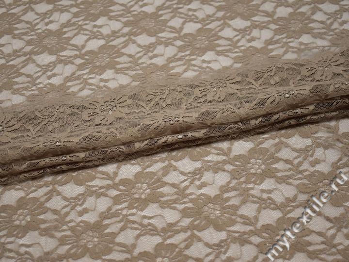 Гипюр коричневый цветы полиэстер эластан БВ535