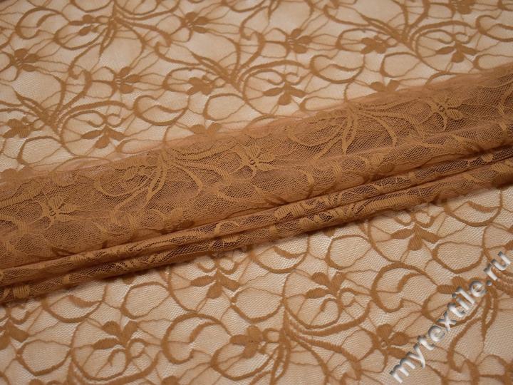Гипюр коричневый узор полиэстер эластан БВ54