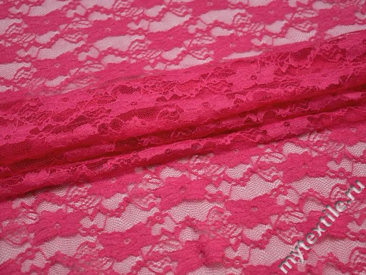 Гипюр розовый цветы полиэстер эластан БВ512