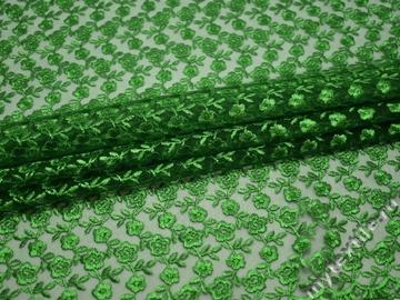 Гипюр зеленый цветы полиэстер БВ475