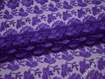 Гипюр фиолетовый цветы полиэстер БВ474