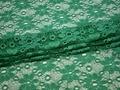 Гипюр зеленый цветы полиэстер эластан БВ421