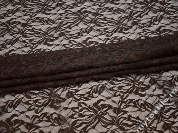 Гипюр коричневый узор полиэстер эластан БВ431