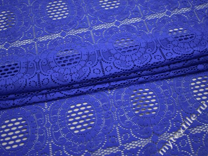 Гипюр синий узор полиэстер эластан БВ448