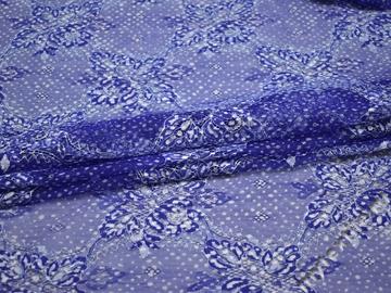 Гипюр синий белый узор полиэстер БВ426