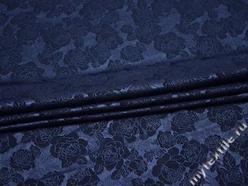 Гипюр синий цветы полиэстер эластан БВ559