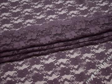 Гипюр фиолетовый цветы полиэстер эластан БВ520