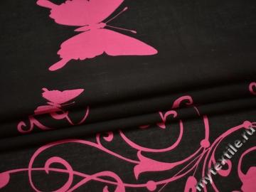 Хлопок черный с розовым принтом бабочки ББ120