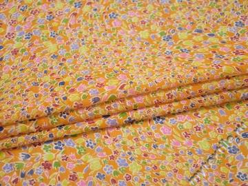 Хлопок оранжевый с цветочным принтом ББ126