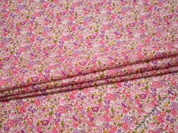 Хлопок розовый с цветочным принтом ББ129