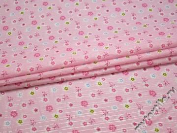 Хлопок розовый с цветочным принтом ББ130