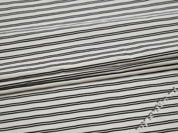 Хлопок с эластаном белый в черную полоску ББ145