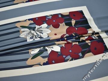 Плательная серая ткань цветы полоска полиэстер ББ157
