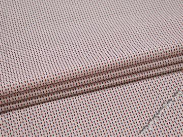 Рубашечная белая ткань с красным узором хлопок БГ1109