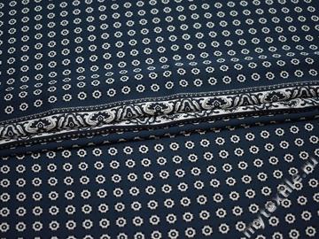 Плательная синяя ткань белый орнамент полиэстер ББ232
