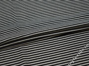 Плательная ткань в черную и серую полоску полиэстер эластан ББ278
