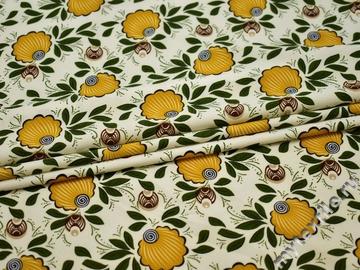 Плательная молочная ткань желтый узор полиэстер ББ23