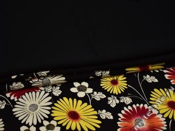 Плательная черная ткань цветы хлопок эластан ББ282
