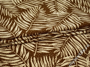 Плательная коричневая ткань белые листья полиэстер эластан ББ230
