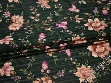 Плательная зеленая ткань цветы полиэстер ББ296
