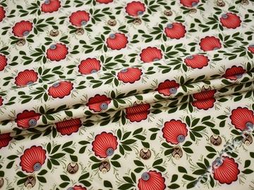Плательная молочная ткань листья узор полиэстер ББ221