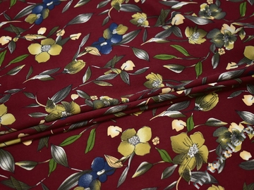 Плательная бордовая ткань цветы узор полиэстер ББ222
