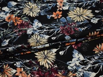 Плательная черная ткань цветочный узор полиэстер ББ27