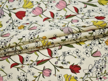 Плательная молочная ткань цветочный узор полиэстер ББ210