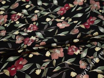 Плательная черная ткань с цветочным узором полиэстер ББ25