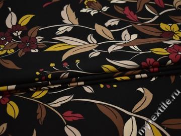 Плательная черная ткань с цветочным узором полиэстер ББ243