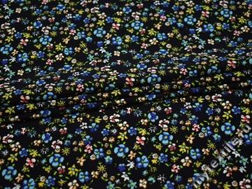 Плательная тёмно-синяя ткань цветы полиэстер эластан ББ250