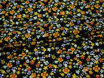 Плательная синяя ткань цветы полиэстер эластан ББ236