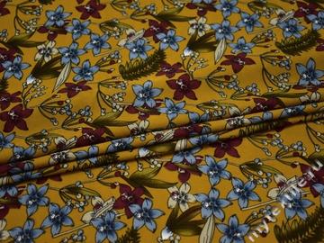 Плательная оливковая ткань цветы полиэстер ББ21