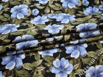 Плательная черная ткань цветы полиэстер ББ261